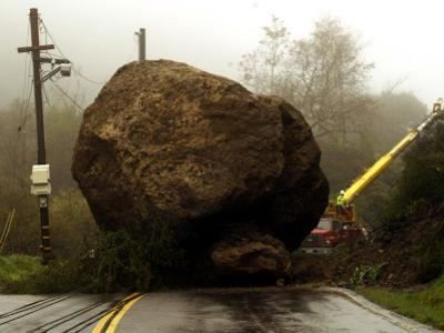 Boulder Some 25 Feet High Blocks Both Lanes of the Topanga Caynon Road