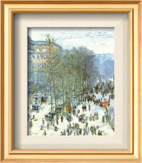Boulevard des Capucines, c.1873-Claude Monet-Framed Textured Art