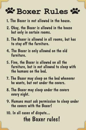 Boxer House Rules Humor Plastic Sign