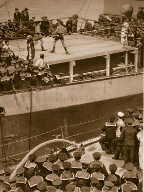 Boxing Competition Aboard a Warship, with the Crew of Second Ship as Additional Spectators, 1914-19