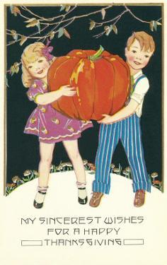 Boy and Girl with Pumpkin