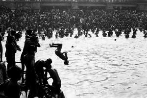 Boy Diving Somersault, Makar Sankranti, Hoogly River, Kolkata, West Bengal, India, 1977