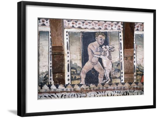 Boy with Animal, Detail from Painting in Coffered Ceiling in One of Rooms of Grinzane Cavour Castle--Framed Giclee Print