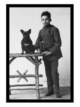 Boy with French Bulldog