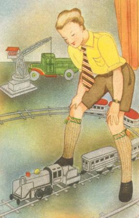 Boy with Model Train