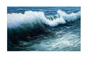 Original Oil Painting Showing Mighty Storm in Ocean or Sea on Canvas. Modern Impressionism, Moderni by Boyan Dimitrov