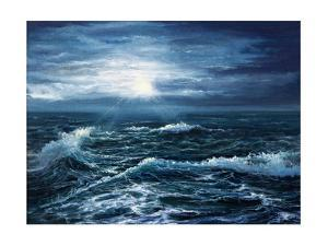 Original Oil Painting Showing Waves in Ocean or Sea on Canvas. Modern Impressionism, Modernism,Mari by Boyan Dimitrov