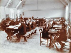 Boys Playing Dominoes and Reading at the Boys Home Industrial School, London, 1900