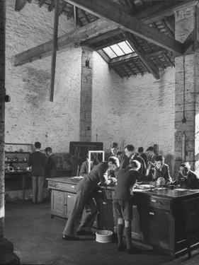 Boys Working on their Studies in the Physics Laboratory Class at Wells Cathedral Church