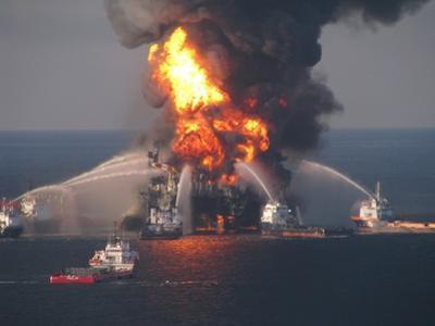 BP's Deepwater Horizon Oil Rig in Flames on April 21, 2010
