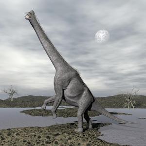 Brachiosaurus Dinosaur Backdropped by a Full Moon