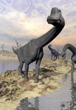 Brachiosaurus Dinosaurs Near Water with Reflection by Sunset and Full Moon