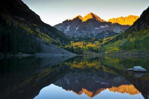Gorgeous Fall Sunrise at Maroon Bells, Aspen, Colorado by Brad Beck