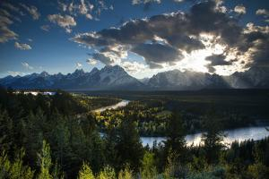 Grand Tetons, Wyoming: Snake River with the Sun Setting over the Grand Tetons in the Background by Brad Beck