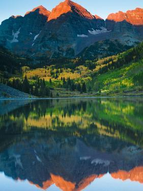 Maroon Bells Just as the Sun Was Rising by Brad Beck