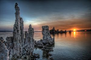 Mono Lake, California: Tufa's Rising from the Water During a Glowing Sunrise by Brad Beck