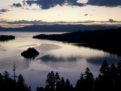 South Lake Tahoe, Nv: an Early Morning Sunrise Reflects Blue and Pink Off the Waters