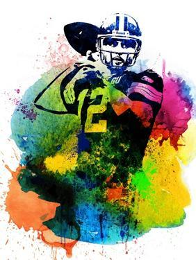 Aaron Rodgers Watercolor I by Brad Dillon