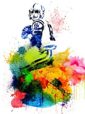 Andrew Luck Watercolor I by Brad Dillon