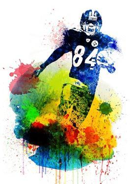 Antonio Brown Watercolor II by Brad Dillon