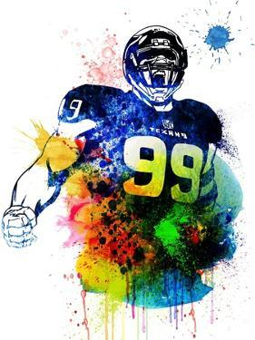 J.J. Watt Watercolor I by Brad Dillon
