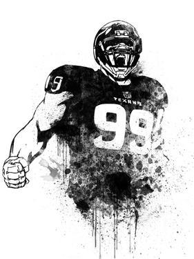 J.J. Watt Watercolor by Brad Dillon