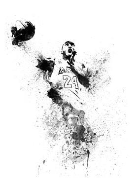 Kobe Bryant Watercolor II by Brad Dillon