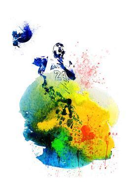 Kobe Bryant Watercolor III by Brad Dillon