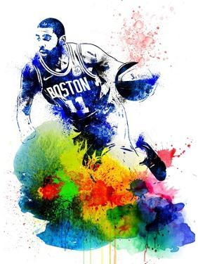 Kyrie Irving Watercolor by Brad Dillon