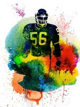 Lawrence Taylor Watercolor I by Brad Dillon