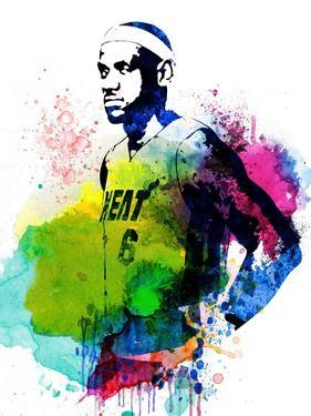 LeBron James Watercolor II by Brad Dillon
