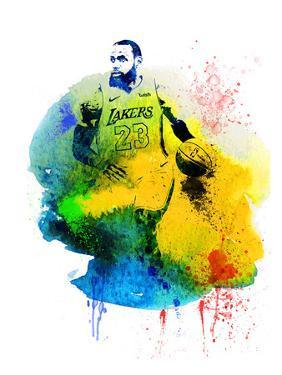 LeBron James Watercolor IV by Brad Dillon