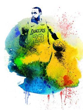 LeBron James Watercolor IV by Brad Dillon