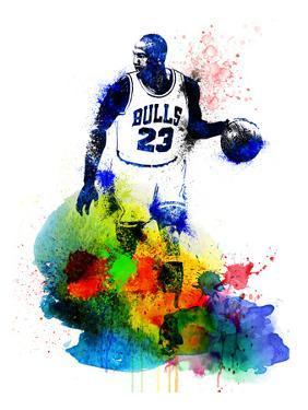 Michael Jordan Watercolor I by Brad Dillon
