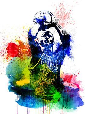 Michael Jordan Watercolor II by Brad Dillon