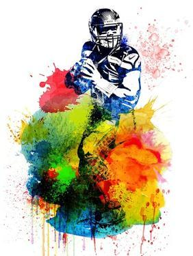 Russell Wilson Watercolor I by Brad Dillon