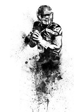 Russell Wilson Watercolor by Brad Dillon