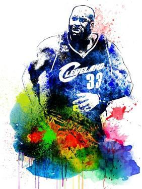 Shaquille O Neal Watercolor by Brad Dillon