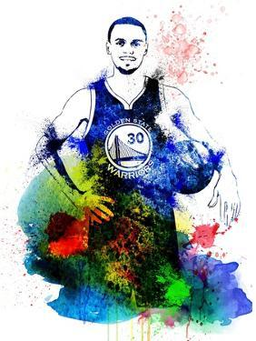Stephen Curry Watercolor by Brad Dillon
