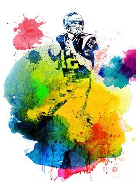 Tom Brady Watercolor I by Brad Dillon