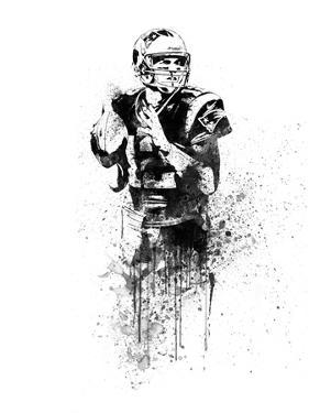 Tom Brady Watercolor by Brad Dillon