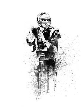 Tom Brady Watercolor by Brad Dillon