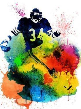 Walter Payton Watercolor I by Brad Dillon