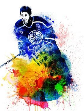 Wayne Gretzky Watercolor I by Brad Dillon