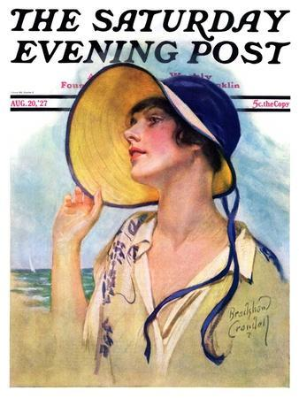 """""""Woman at the Shore,"""" Saturday Evening Post Cover, August 20, 1927"""