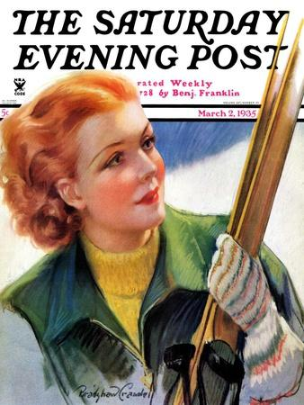 """""""Woman with Snow Skis,"""" Saturday Evening Post Cover, March 2, 1935"""