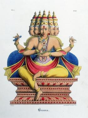 Brahma, First God of the Hindu Trinity (Trimurt), and Creator of the Universe, C19th Century by A Geringer