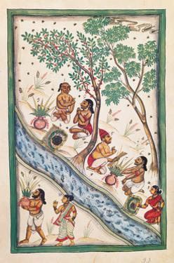 Brahmins bless the water. Drawing of Indian subject commissioned by Niccolao Manucci 18th c.