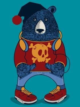 Cool Bear Character Vector Design for Tee by braingraph