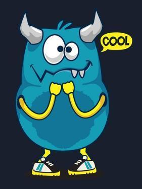 Cool Monster, Yeti, Alien Vector Design for Kid Tee Shirt by braingraph